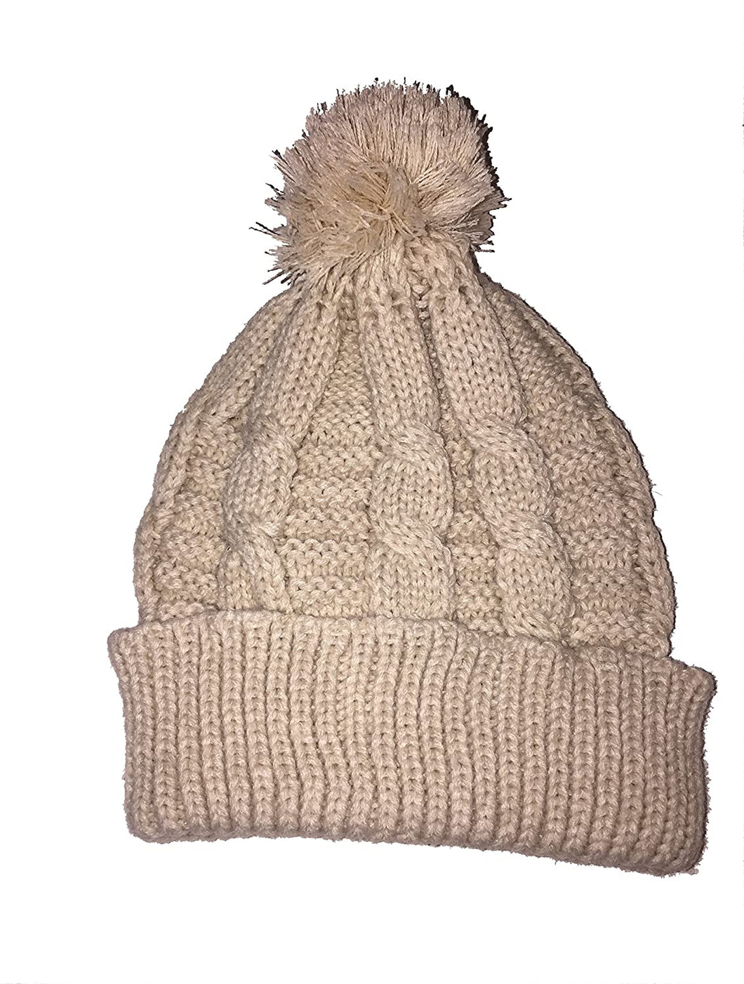Pamper Yourself Now Unisex Cream Winter hat/Beanie with Bobble