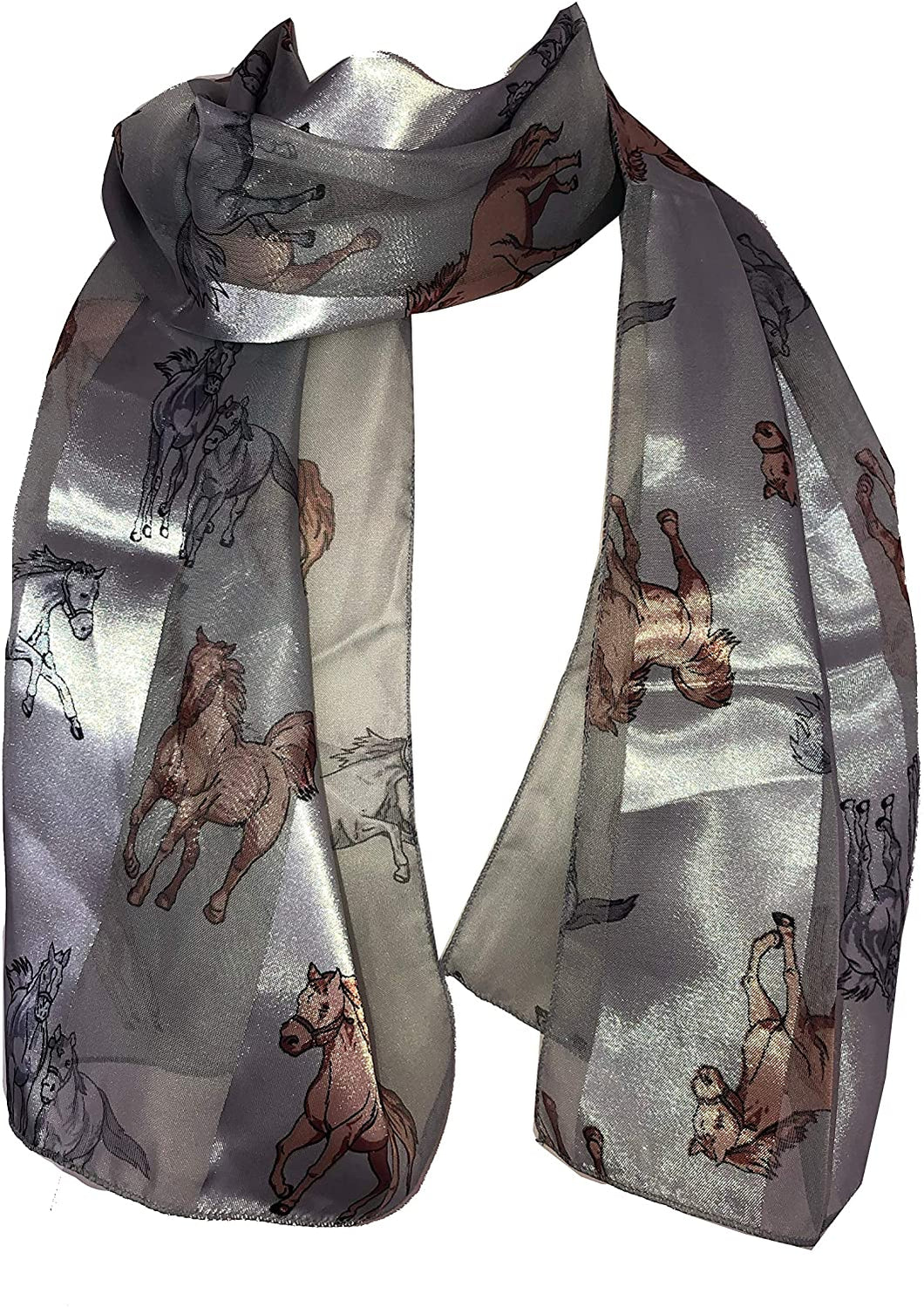 Pamper Yourself Now Light Grey Running Horse Shiny Thin Pretty Scarf