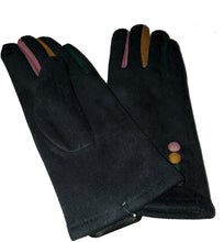 Load image into Gallery viewer, G1925 Plain grey ladies Gloves with a splash of colour between the fingers