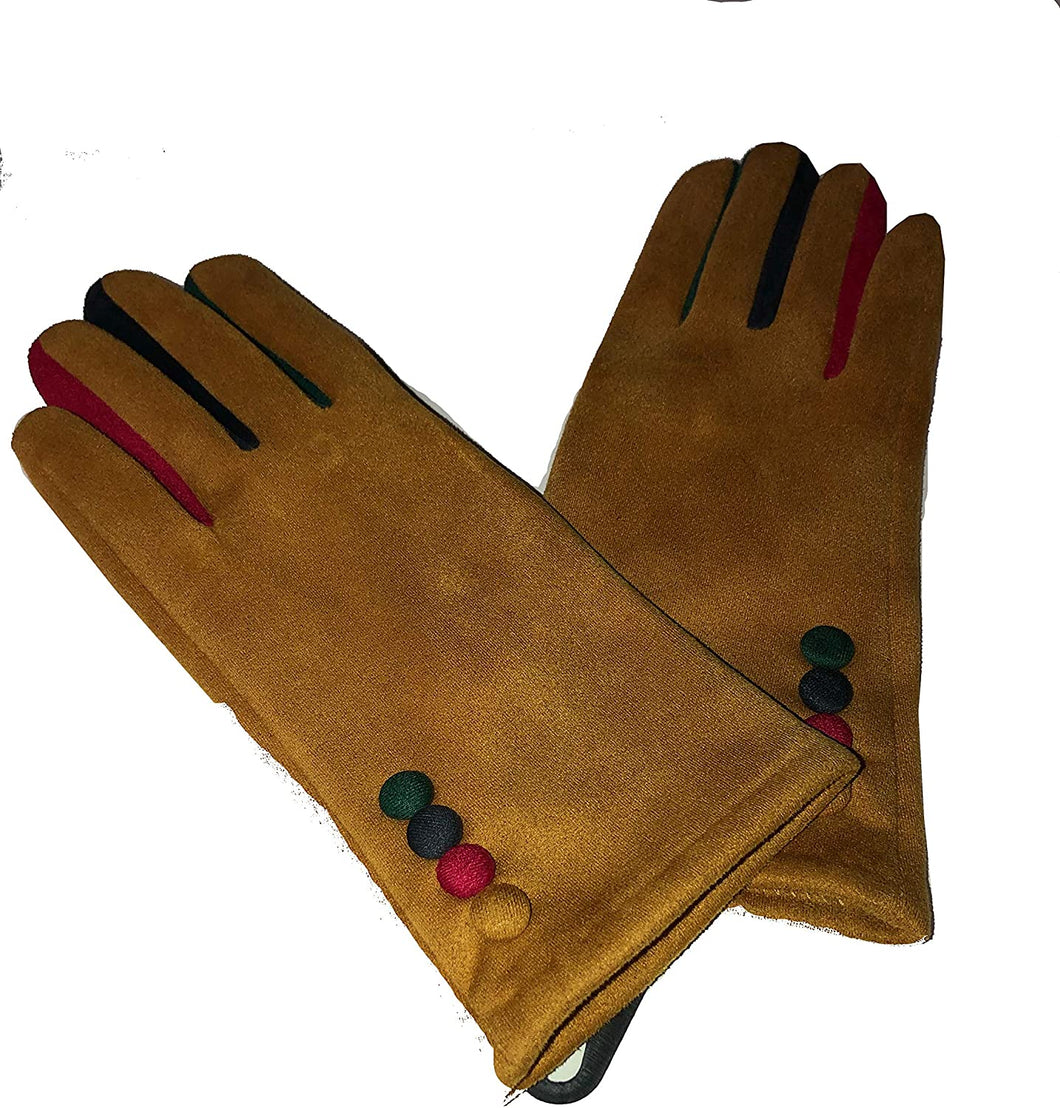 G1925 Plain mustard ladies Gloves with a splash of colour between the fingers