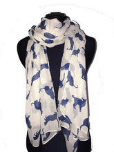 Load image into Gallery viewer, Pamper Yourself Now Creamy White with Navy Cats Scarf, Beautiful Gifts/Present for cat Lovers.