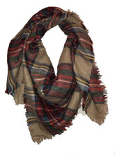 Load image into Gallery viewer, Beige with blue + brown tartan design square scarf