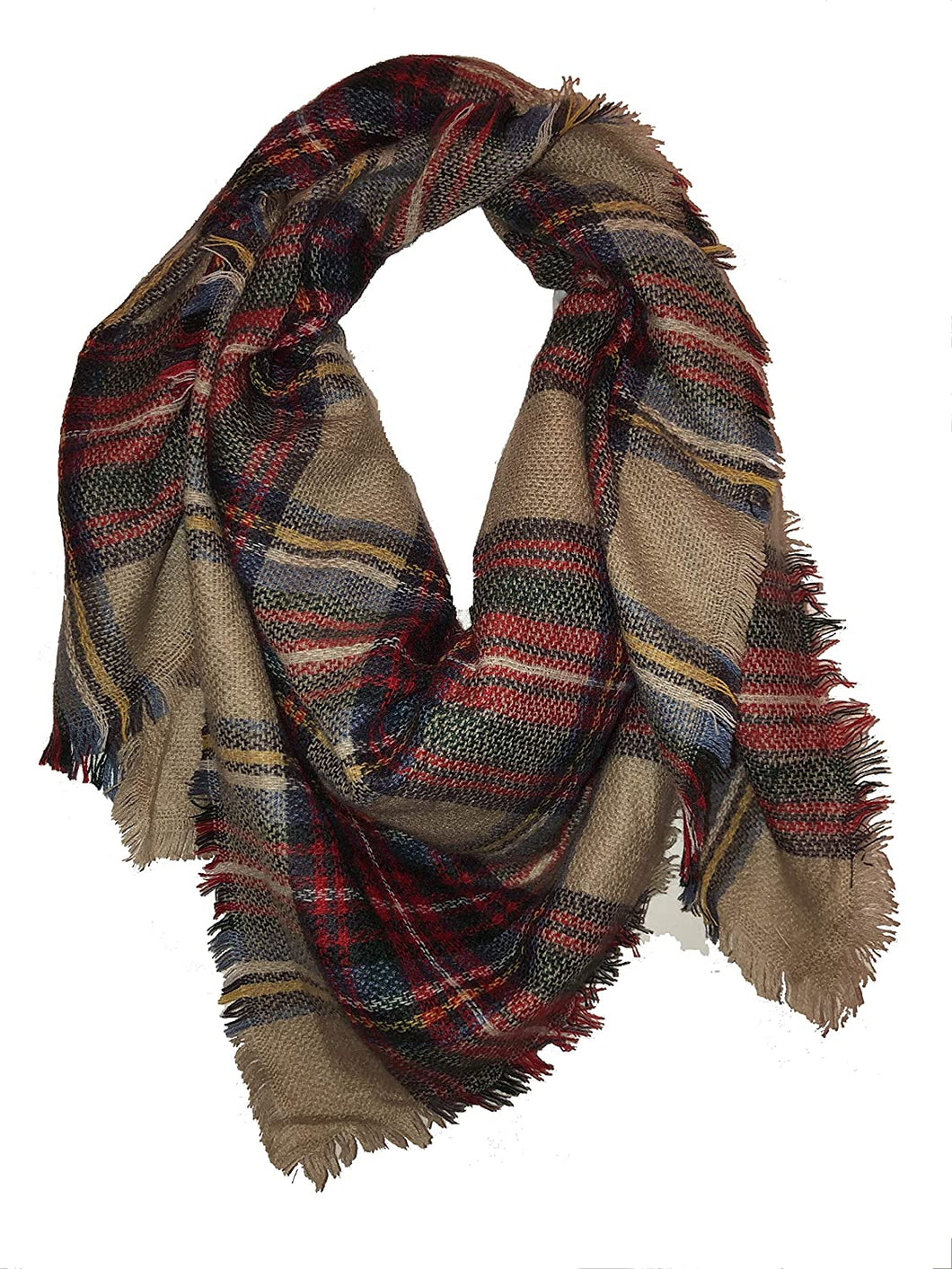 Beige with blue + brown tartan design square scarf