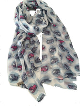 Load image into Gallery viewer, White with VW Campervan Design Scarf Long Scarf