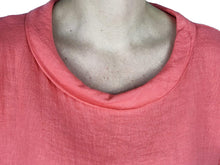 Load image into Gallery viewer, Pamper Yourself Now ltd Coral 100% Linen Cowl Neck Tunic Made in Italy (AA85)