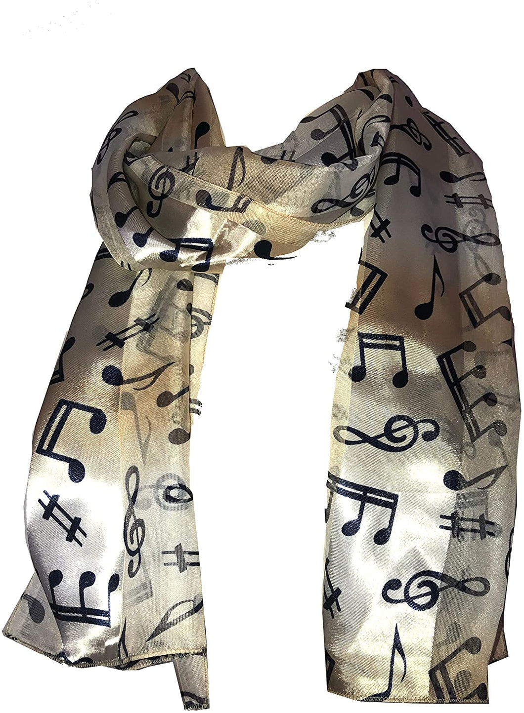 Pamper Yourself Now Gold/Beige Musical Notes Scarf with Blue Notes