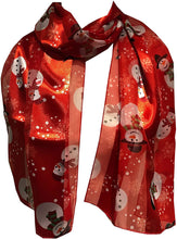 Load image into Gallery viewer, Pamper Yourself Now Snowman Design Scarf Thin Pretty Christmas Scarf, Great as a Present/Gift.