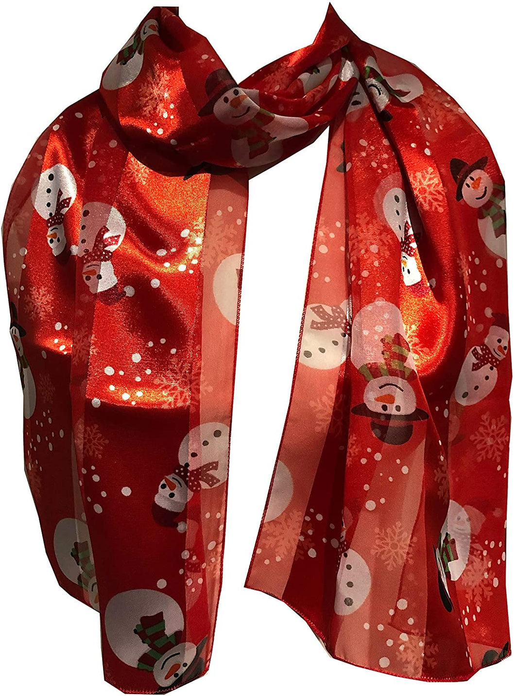 Pamper Yourself Now Snowman Design Scarf Thin Pretty Christmas Scarf, Great as a Present/Gift.