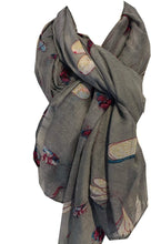 Load image into Gallery viewer, Pamper Yourself Now Grey with Dragonfly and Bugs Design Long Soft Scarf, Great Present/Gift.