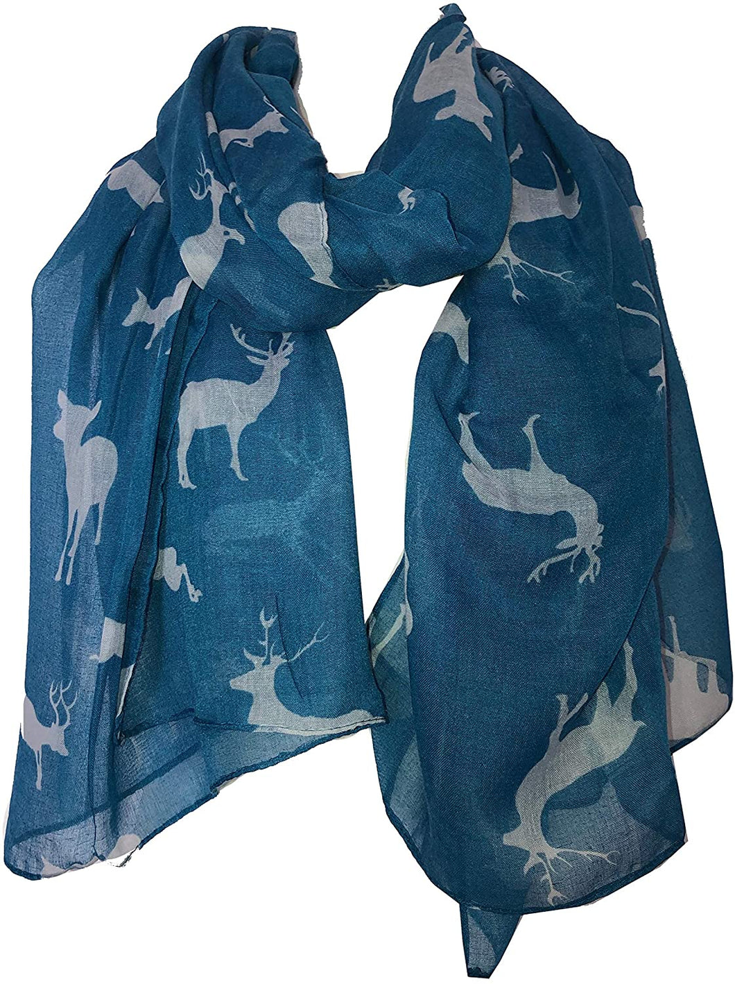 Pamper Yourself Now Light Blue with White Deers stag Print Scarves