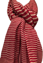 Load image into Gallery viewer, Pamper Yourself Now Red with White Stripes Long Soft Scarf