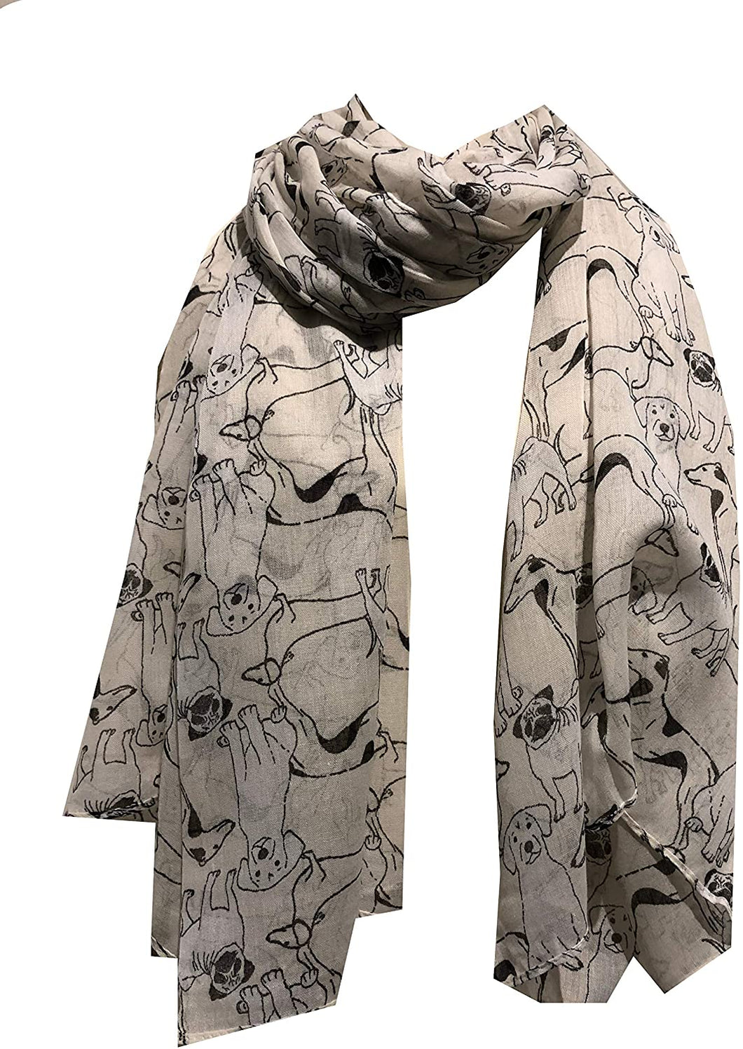 Pamper Yourself Now Cream Sketched Mixed Dog Design Scarf Pug, Sausage Dog, Labrador and whippit