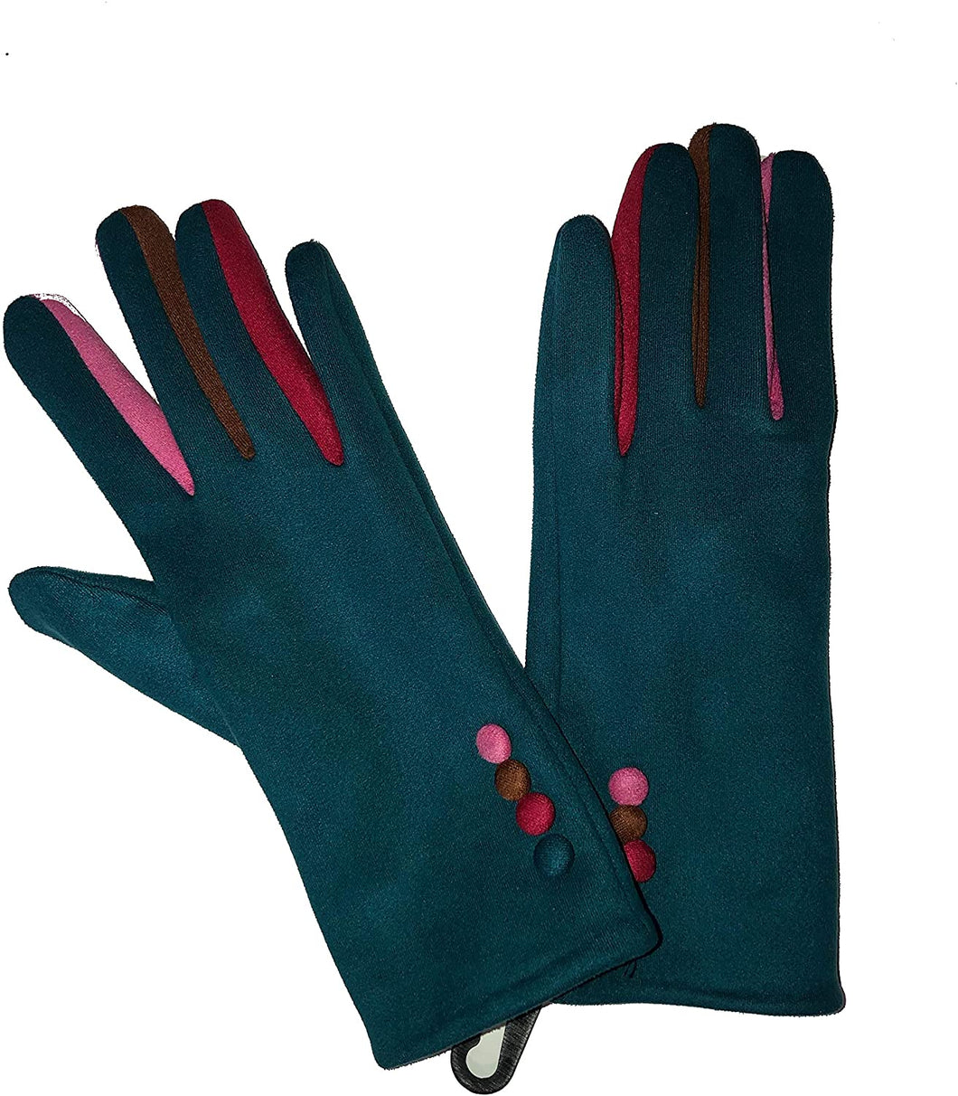 G1925 Plain teal ladies Gloves with a splash of colour between the fingers