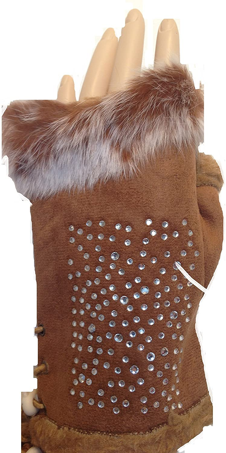 Pamper Yourself Now Brown Faux Fur Trimmed Fingerless Gloves with Sparkle. Lovely Gift