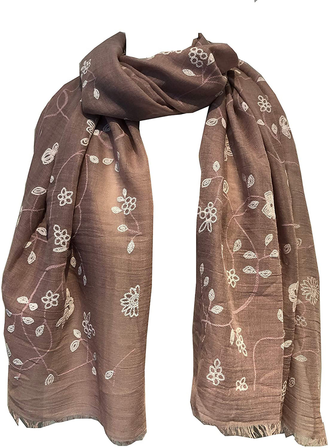 Pamper Yourself Now Pink with White Embroidered Flowers and Leaf Design Long Scarf/wrap with Frayed Edge