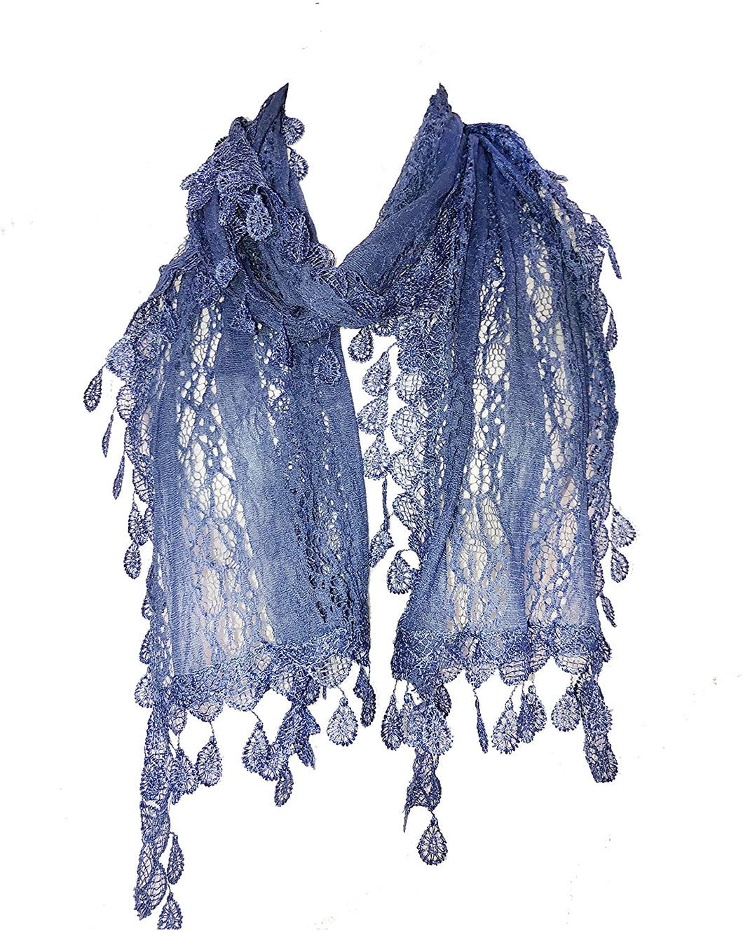 Pamper yourself Blue Leaf Lace Scarf