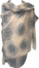 Load image into Gallery viewer, Pamper Yourself Now Beige with Blue Sun Rays Scarf/wrap