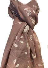 Load image into Gallery viewer, Pamper Yourself Now Pink with White Embroidered Flowers and Leaf Design Long Scarf/wrap with Frayed Edge