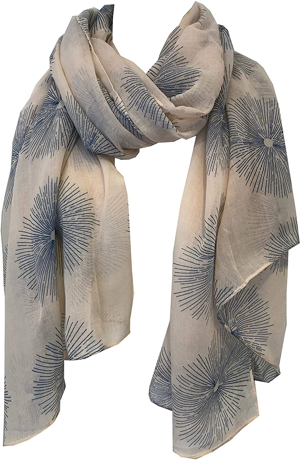 Pamper Yourself Now Beige with Blue Sun Rays Scarf/wrap