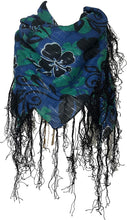 Load image into Gallery viewer, Pamper Yourself Now Blue with Black Flower and Grey Leaf Design Square Scarf