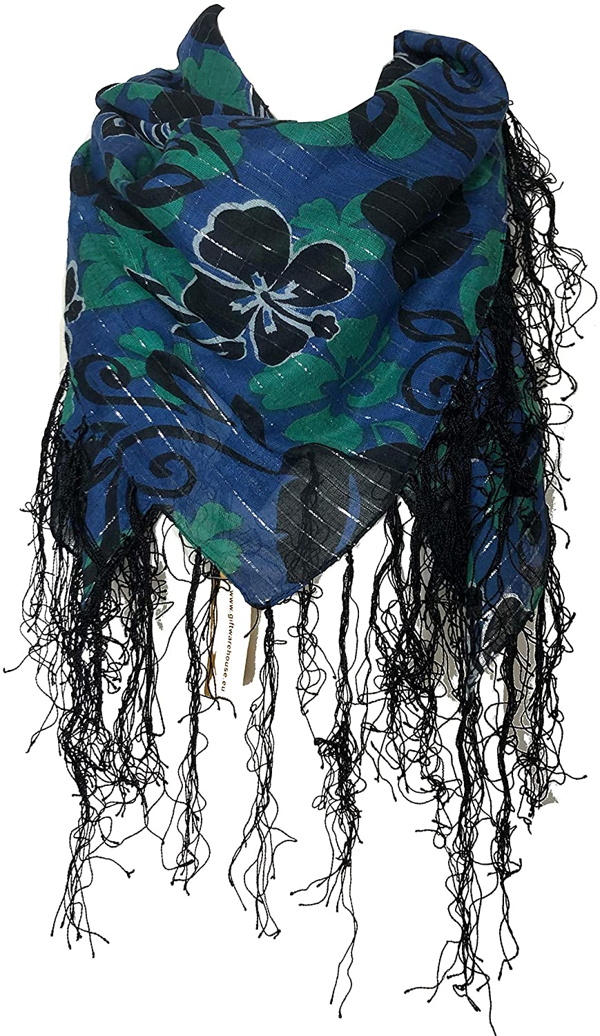 Pamper Yourself Now Blue with Black Flower and Grey Leaf Design Square Scarf