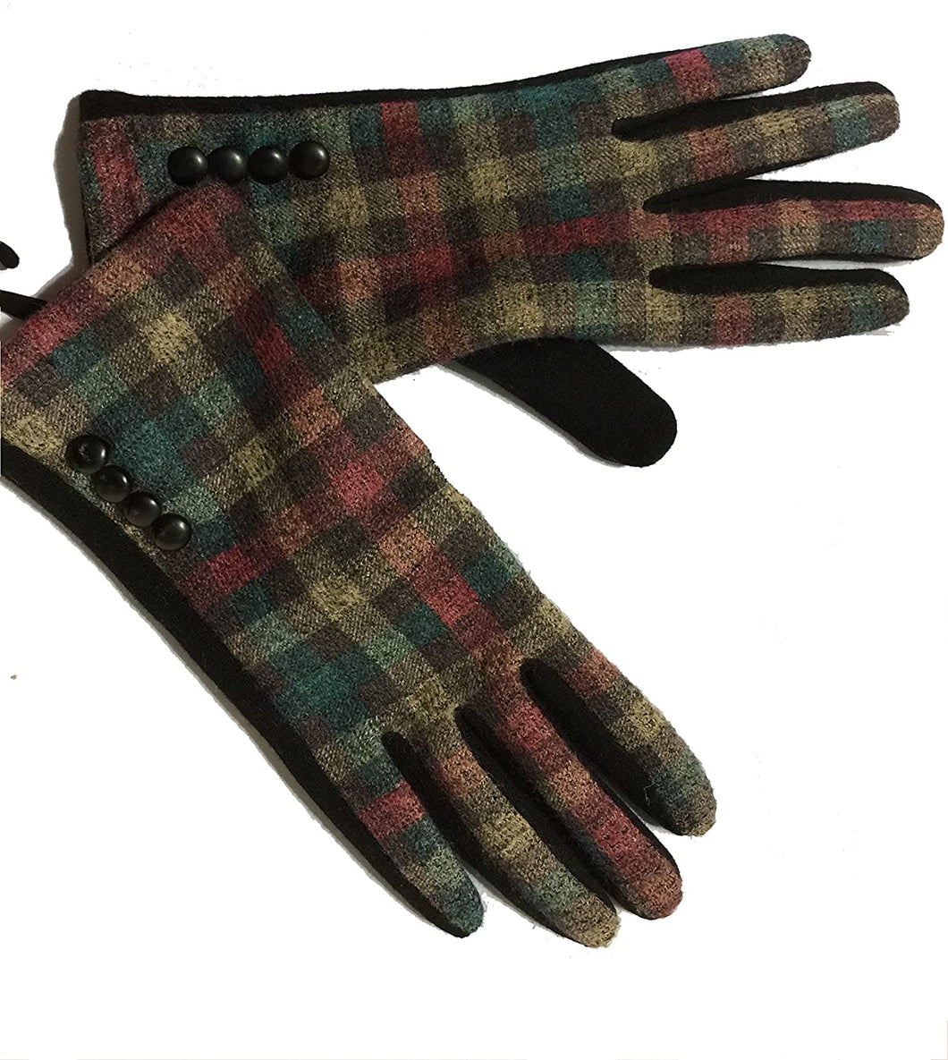 G1718 Black with teal/beige/pink checked pattern ladies Gloves