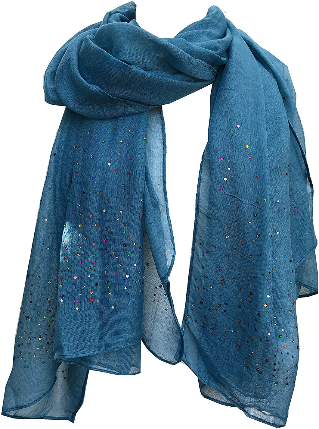 Pamper Yourself Now Plain Blue Scarf with Multi Coloured Sparkle Lovely Long Soft Scarf Fantastic Gift