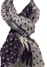 Load image into Gallery viewer, Pamper Yourself Now Purple, White and Grey Chunky Diamond Design Stretchy Blanket Scarf/wrap. Great Present/Gift for mums, Girlfriends or Wife.