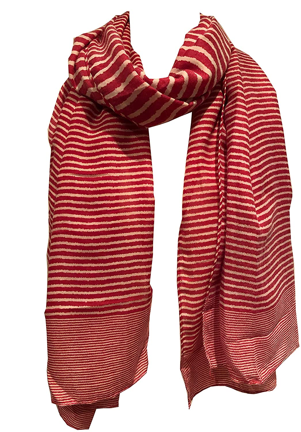 Pamper Yourself Now Red with White Stripes Long Soft Scarf