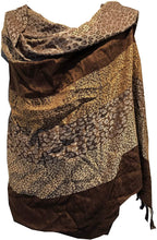 Load image into Gallery viewer, Dark Brown and Brown Animal Print Pashmina Style Scarf/wrap/Shawl. Fantastic Stylish Gift/Present