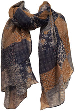 Load image into Gallery viewer, Pamper Yourself Now Brown with Blue Patchwork Design Soft Long Scarf/wrap