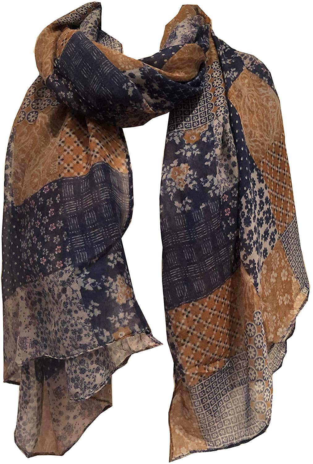 Pamper Yourself Now Brown with Blue Patchwork Design Soft Long Scarf/wrap