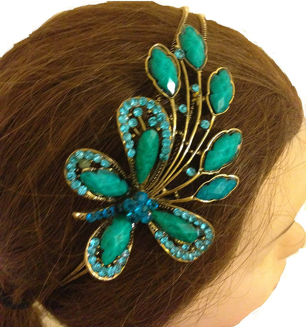 Teal big butterfly design aliceband, headband with pretty stone