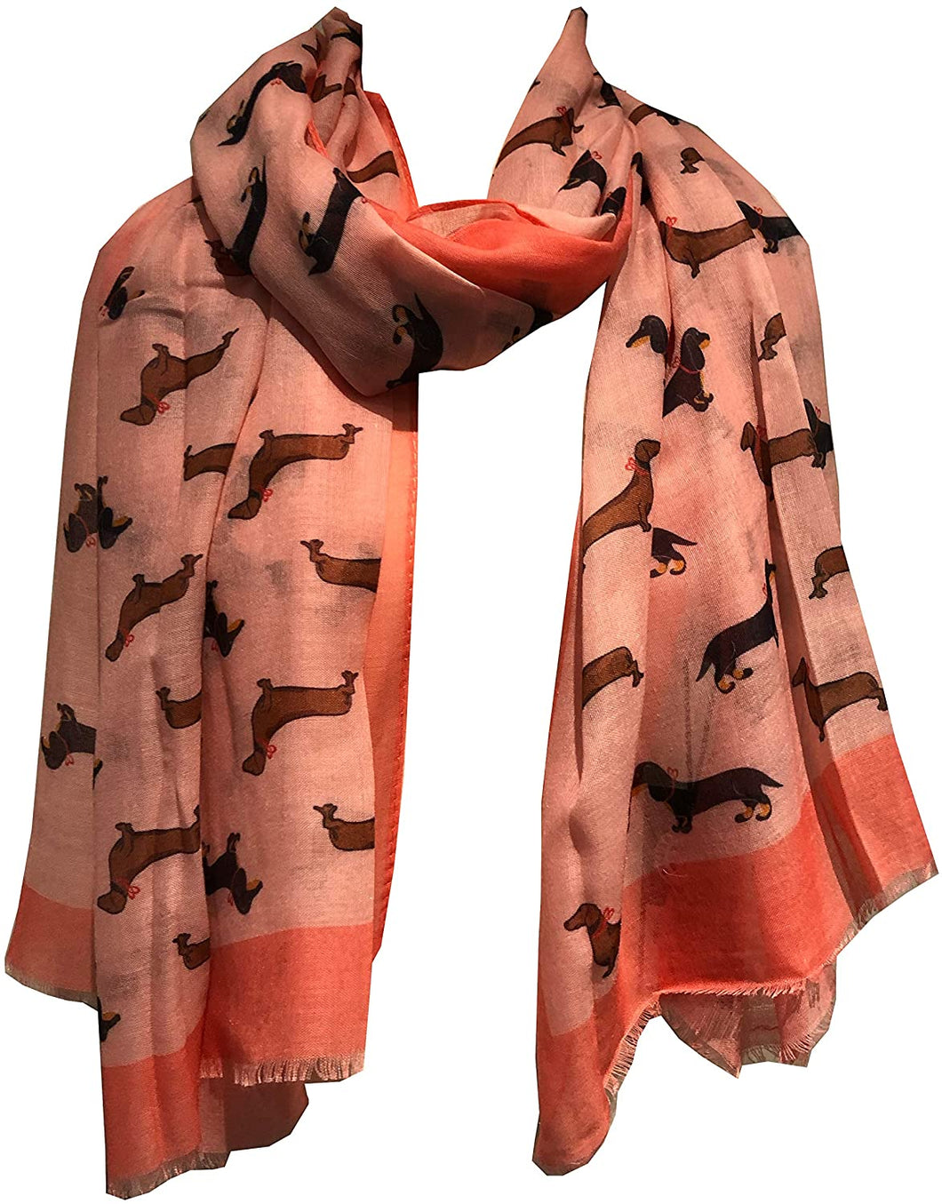 Dachshund dog with bow ladies long scarf/wrap with frayed edge. Great for presents/gifts