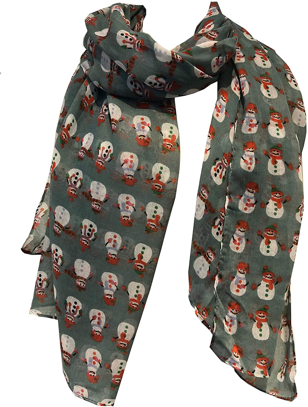 Pamper Yourself Now Green Snowman Design Ladies Scarf. Great Christmas Scarf/wrap Lovely Present.