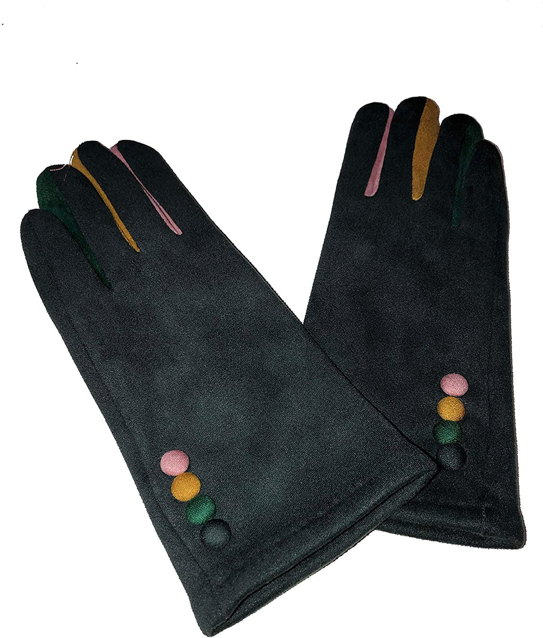 G1925 Plain grey ladies Gloves with a splash of colour between the fingers