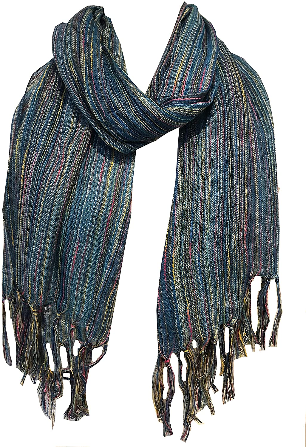 Pamper Yourself Now Blue Multi Coloured Striped Ladies Scarf/wrap