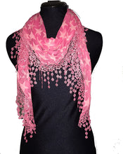 Load image into Gallery viewer, Pamper Yourself Now Pink with Beige Star lace Trimmed Triangle Scarf