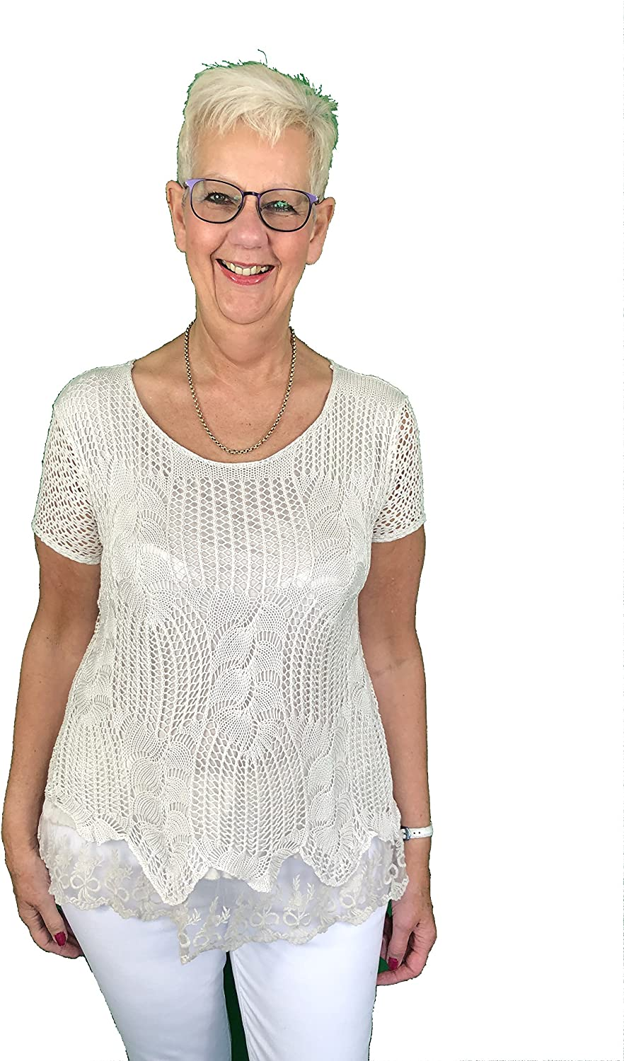 Pamper Yourself Now ltd Ladies Beige Crochet Lace Short Sleeve top.Made in Italy (AA12)