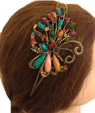 Load image into Gallery viewer, Multi coloured butterfly design aliceband, headband with pretty stone
