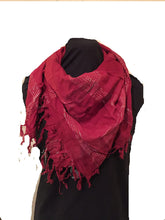 Load image into Gallery viewer, Red with silver checked design square scarf with tassels