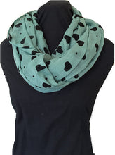 Load image into Gallery viewer, Pamper Yourself Now Green with Black Embossed Love Hearts and dot Design Snood