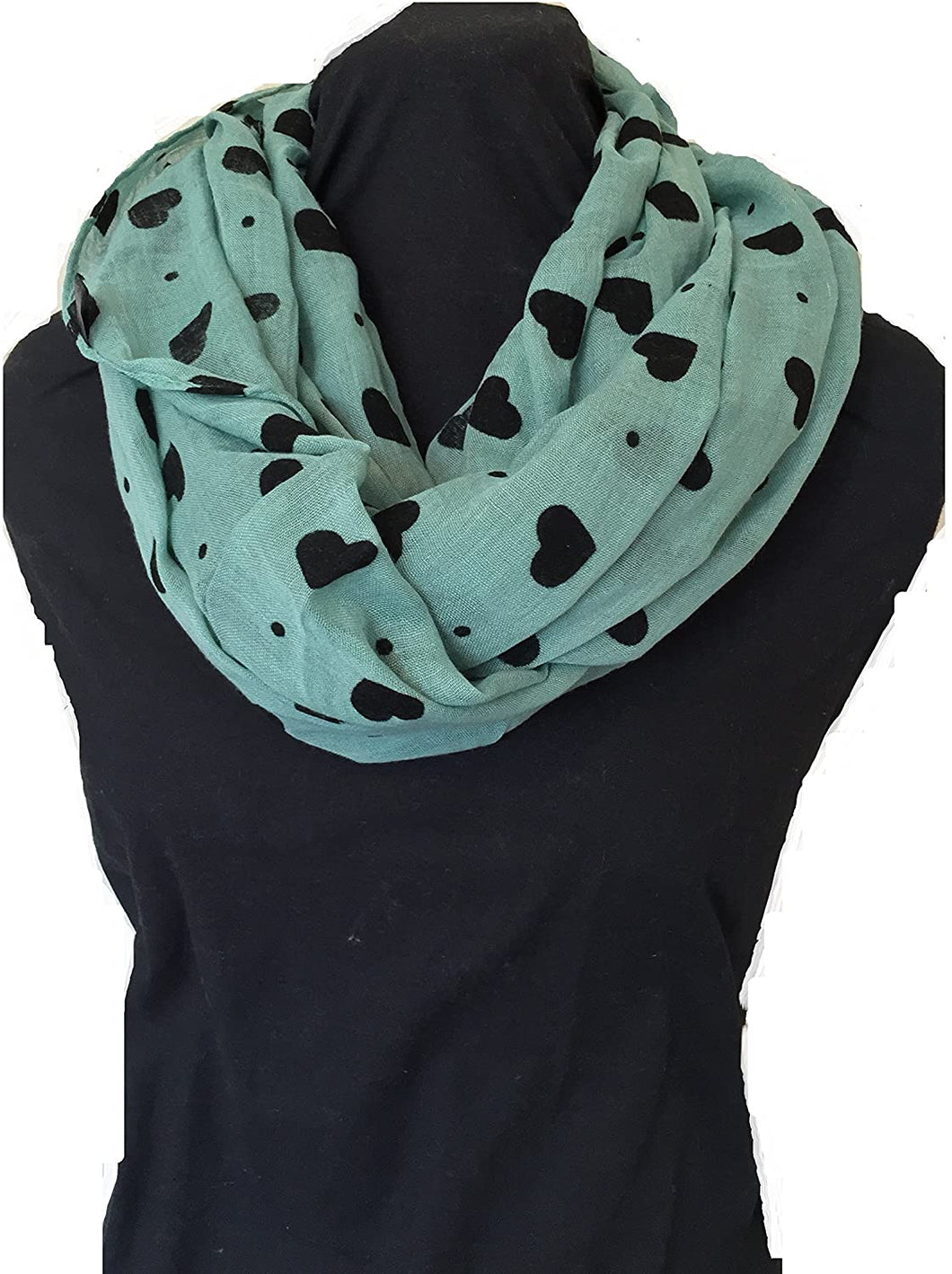 Pamper Yourself Now Green with Black Embossed Love Hearts and dot Design Snood