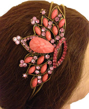 Load image into Gallery viewer, Pink/peachy crown design aliceband, headband with pretty stone