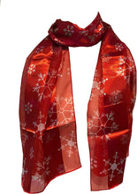 Load image into Gallery viewer, Pamper Yourself Now Red Christmas Snowflake Design Scarf, Lovely Chrismas Scarf Great for Presents.