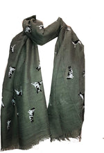 Load image into Gallery viewer, Pamper Yourself Now Green German Shepherd Design Long Scarf/wrap with Frayed Edge