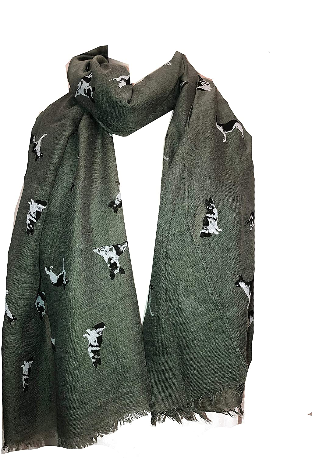 Pamper Yourself Now Green German Shepherd Design Long Scarf/wrap with Frayed Edge