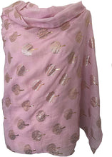 Load image into Gallery viewer, Pamper Yourself Now Pink with Gold Foiled Mulberry Tree Design Ladies Scarf/wrap. Great Present for Mum, Sister, Girlfriend or Wife.