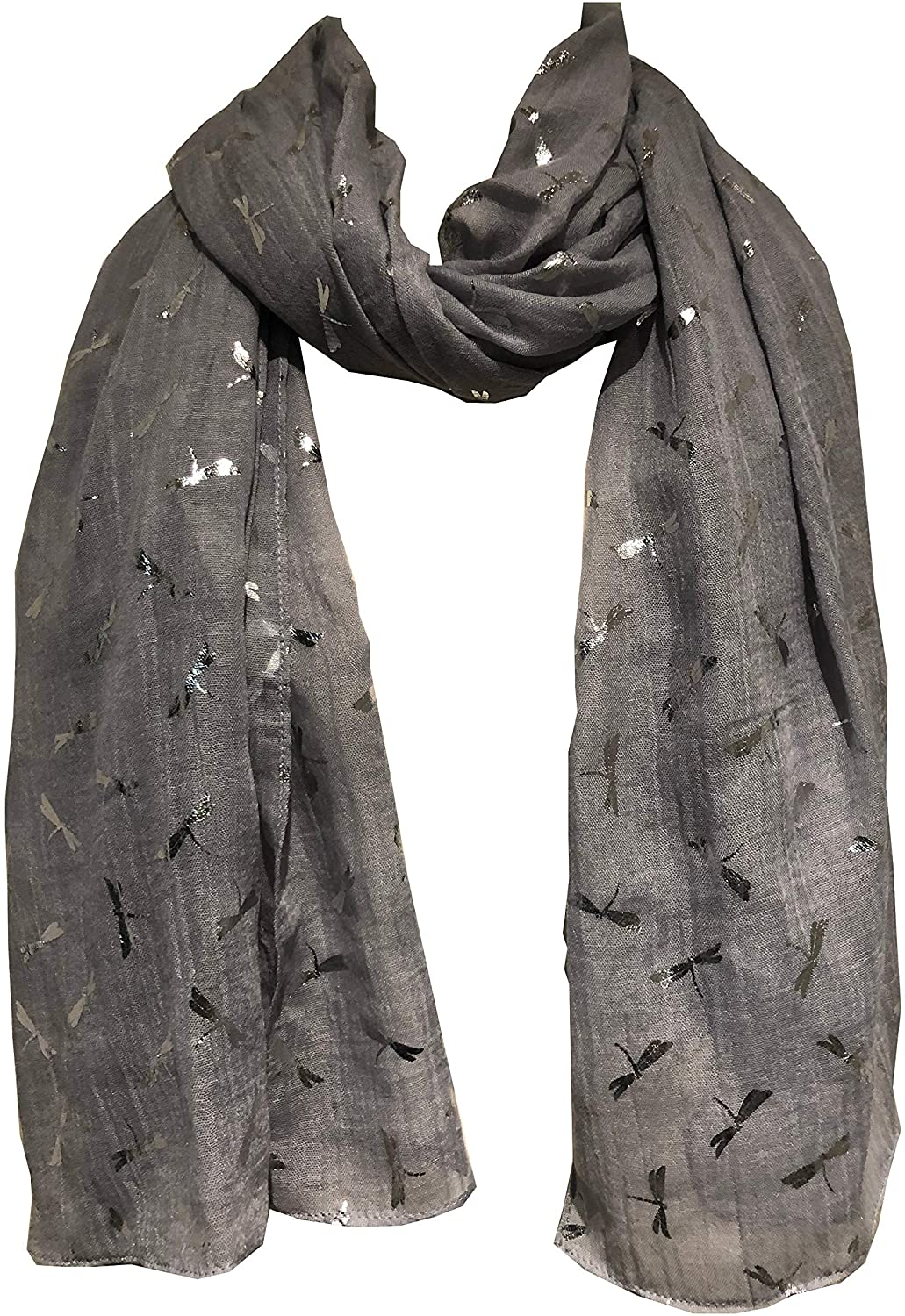 Pamper Yourself Now Grey with Silver Glitter Mini Dragonfly Scarf/wrap