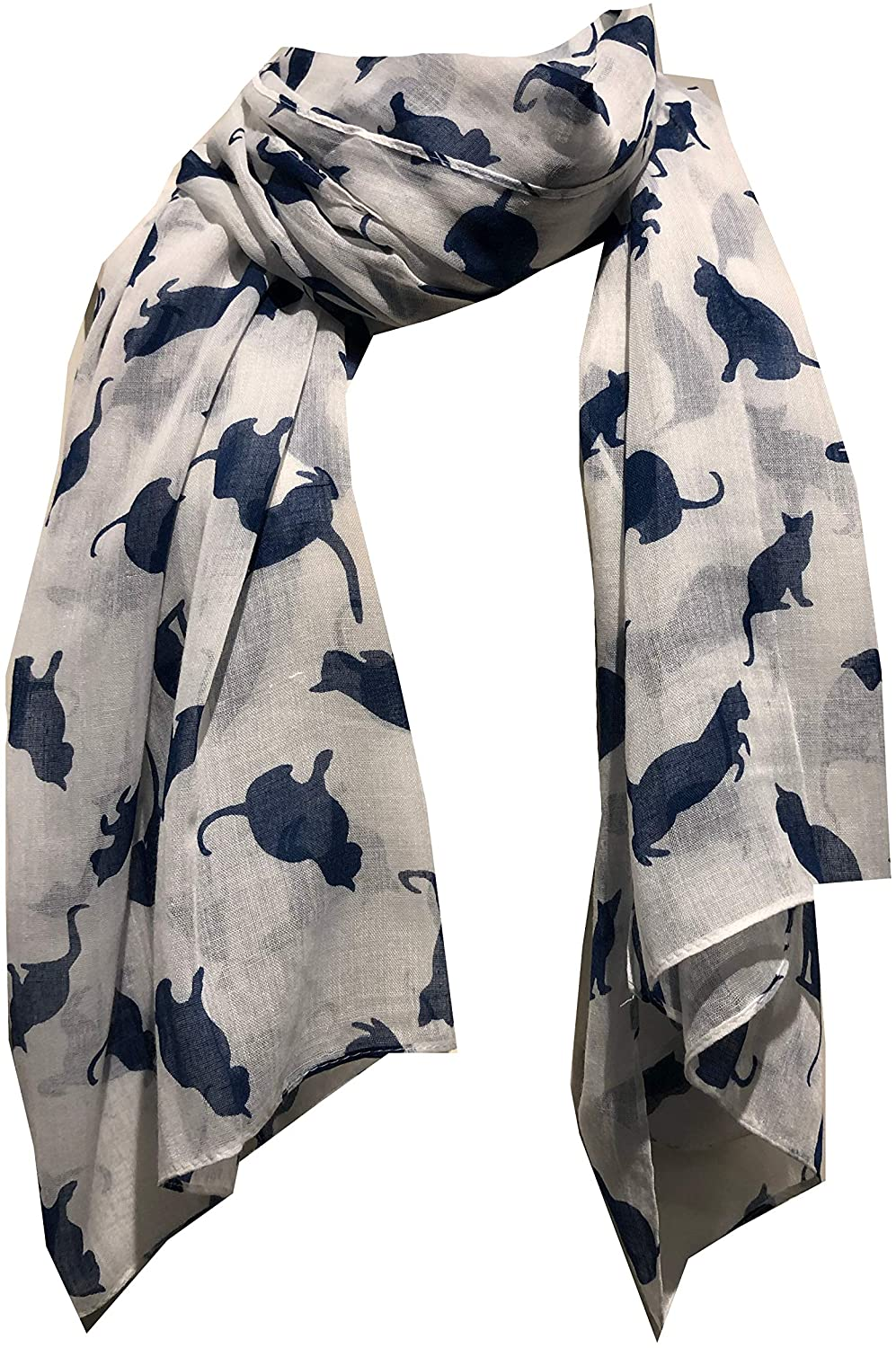Pamper Yourself Now Creamy White with Navy Cats Scarf, Beautiful Gifts/Present for cat Lovers.